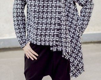 Asymmetrical Wool Plaid Jacket / Plaid Wool Coat TC36