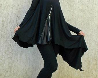 Black Asymmetric Tunic / Black Tunic / Loose Tunic with Leather Inset TT44