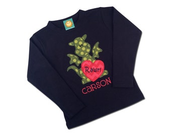 Boy's Valentine Shirt with Dragon Heart and Embroidered Name - Black Shirt