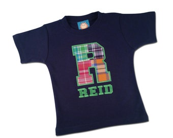 Boy's Monogram Shirt with Plaid Letter and Embroidered Name - M2
