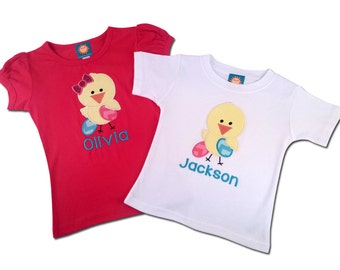 Brother Sister Easter Sibling Shirts - Chicks with Eggs and Embroidered Names