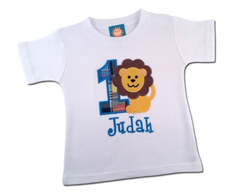 Boy Lion Birthday Shirt with Plaid Number and Embroidered Name