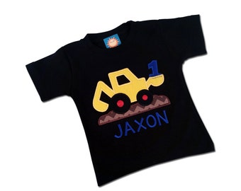 Construction Birthday Shirt with Digger, Number and Embroidered Name