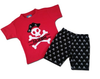 Boy's Pirate Outfit with Pirate Shirt and Matching Pirate Shorts