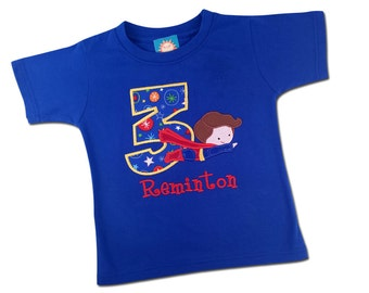 Boy's Superhero Birthday Shirt with Flying Super Boy, Number and Embroidered Name