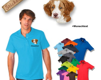 Polo shirt cotton embroidered embroidery dog BRITTANY SPANIEL + own words