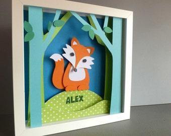 Personalised Baby Kids Children's picture - Fox 3D Framed Handmade Paper Artwork