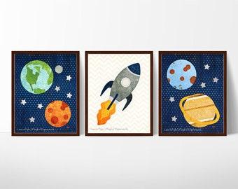 boy room, space themed nursery, outer space nursery, set of 3 colorful prints for boys room decor, playroom art, classroom decor, rocket
