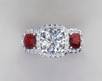 Forever One Moissanite Wedding Ring Cushion Cut Rubies & .45ct Genuine Diamonds Halo 18k White Gold Anniversary Pristine Custom Rings