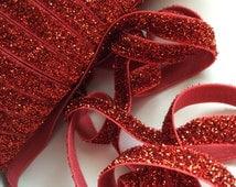 "Red Glitter Elastic 3/8"", you choose yards, wholesale, glitter, headbands, elastic, ribbon"
