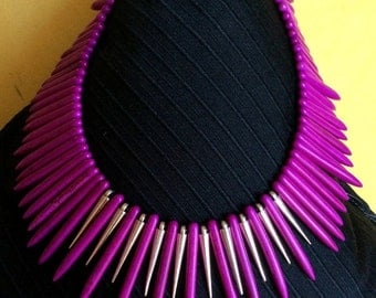Fuschia Turquiose Fan Necklace with Amazing  Focal Beads Down the Back