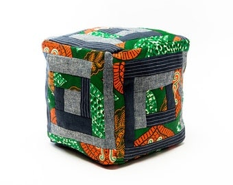 Cubic Patchwork Log Cabin Pillow in Green, Blue and Orange