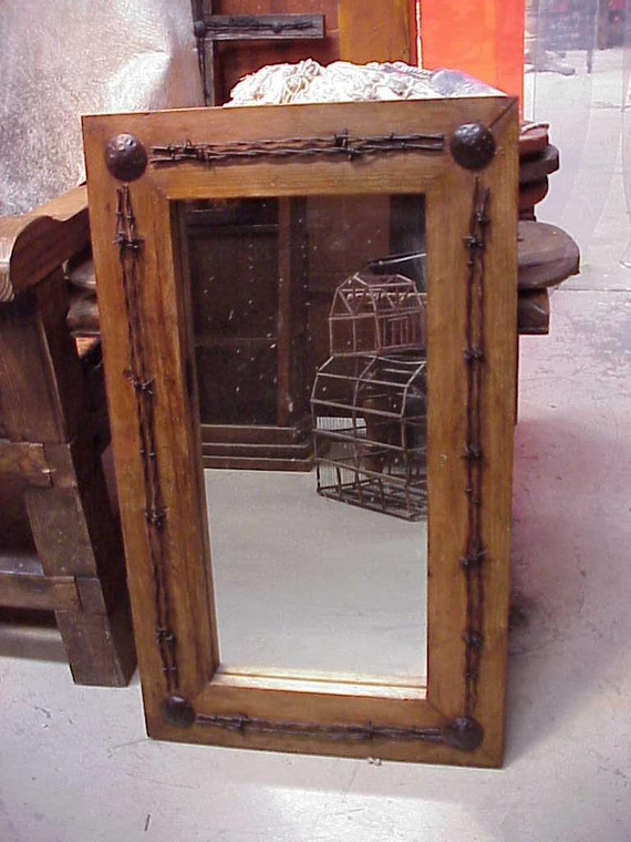 western bathroom mirrors ranch rustic barbed wire mirror mexican 25x41 by 15039