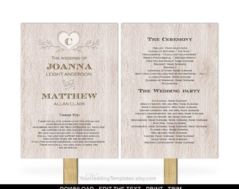 Rustic wedding program  template-DIY wedding program fan template-Printable-Instant download-rustic| wooden| heart-T081-3