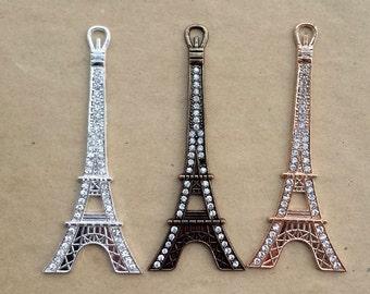 3 pcs 34x85mm Eiffel Tower charm,Bronze stick drill  Eiffel Tower,Silver Eiffel Tower ,Rose golden Eiffel Tower Sticky patch,