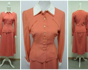 """STUNNING Vintage """"Joan Miller Juniors"""" 1940's Two Piece Skirt Suit - Coral Pink - Size S/M"""
