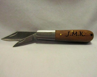 Custom Engraved Pocket Knife - Wood Handle Barlow