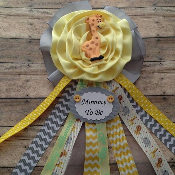 giraffe theme mommy to be baby shower corsage yellow grey chevron