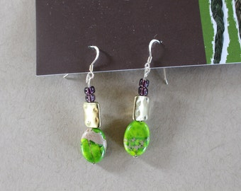 Lime green and purple beaded earrings