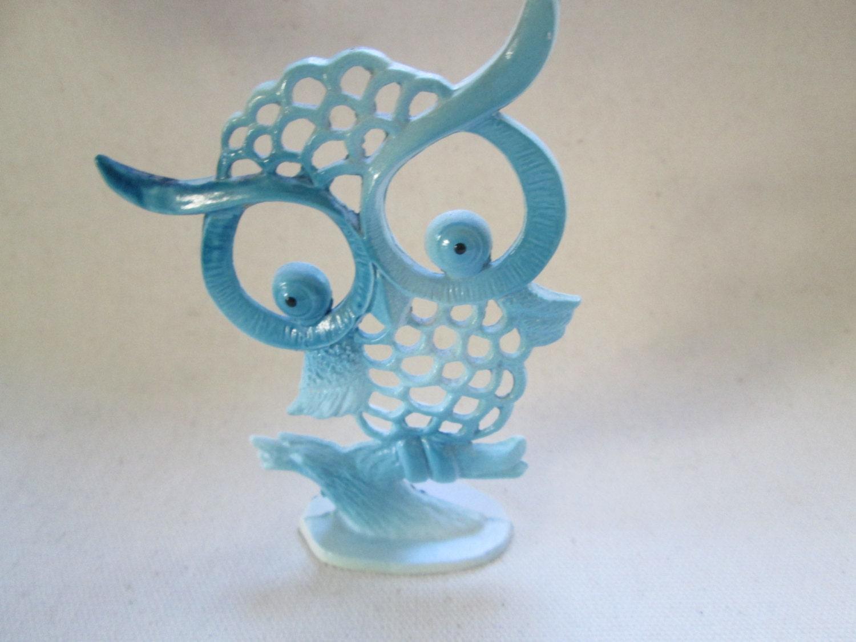 vintage light blue revere owl earring holder
