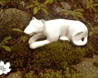 Lion Sculpture of white clay