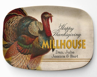Melamine Thanksgiving Platter, Personalized Turkey Serving Platter, Melamine Platter, Personalized Thanksgiving Serving Tray