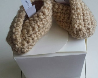 Crochet Fortune Cookie Baby Booties (Take-out container included!)