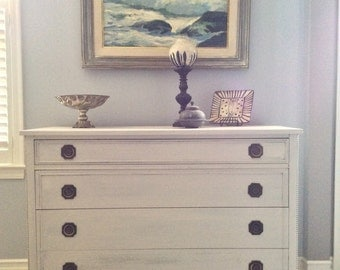 SOLD to Julie!  Antiqued Soft Dove White Federal Chest of Drawers/Buffet with Pearl Detail