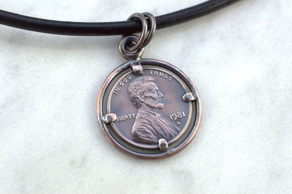 Lucky penny necklace us penny pendant custom made pendant like this item aloadofball Choice Image