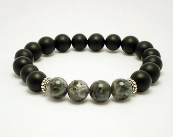 Mens Bracelet, Mens Beaded 10mm Matt Onyx Larvikite Bracelet, Stretch Bracelet for Men, Men's Black Onyx Mala Bracelet, Mala Beads Bracelet