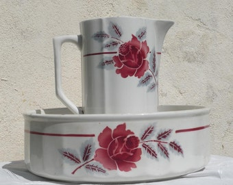 French art deco pitcher and wash basin, antique jug and bowl, french antique, french bathroom, pitcher and basin, french home