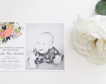 Floral Birth Announcement | Baby Announcement | Single Photo Birth Announcement | Photo Baby Announcement | Flowers | Black and White