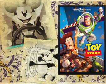 Disney Vintage Toy Story Poster Framed Print A4 and 6 x 4