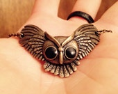 Antique Brass Owl Pendant Necklace With Recycled Chain