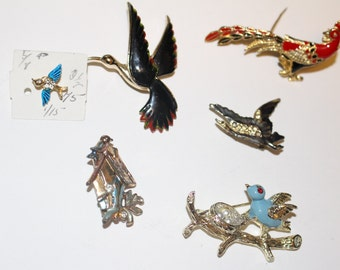 Six Lovely Bird Brooches Pins
