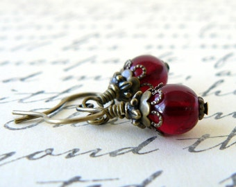 Garnet Red Earrings Dark Red Glass Bead Dangles Vintage Style Romantic Bridesmaid Jewelry Blood Red Beaded Earrings Gift For Her