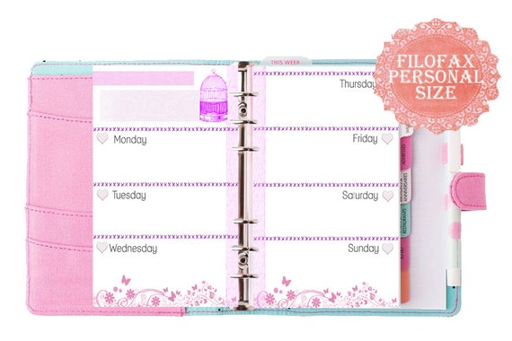 filofax personal size printable week in 2 pagespink themed. Black Bedroom Furniture Sets. Home Design Ideas