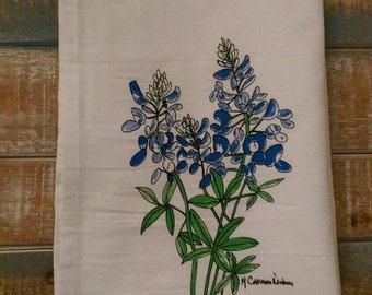 Bluebonnet towel by local artist