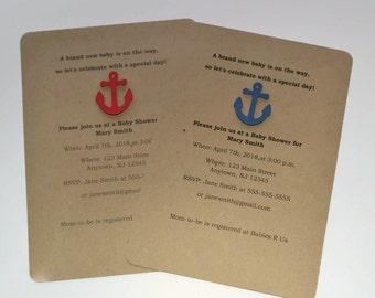 12 Anchor Invitations, Baby Shower Invitations Bridal Shower Invitations, Nautical Party Theme