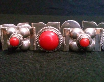 Gorgeous 1940's Sterling Silver and Red Coral Panel Bracelet