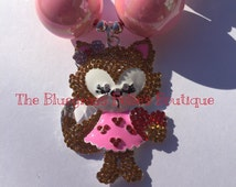 Valentine's Day fox chunky bubblegum bead necklace