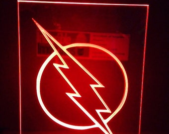 The flash logo   light up sign. illuminated