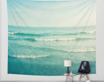 SALE ocean tapestry, large size wall art, wall decor, photo tapestry, sea ocean waves water sky mint aqua aquamarine beach house decor
