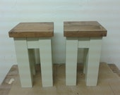Chunky rustic pair of end tables 30x30x50cm painted