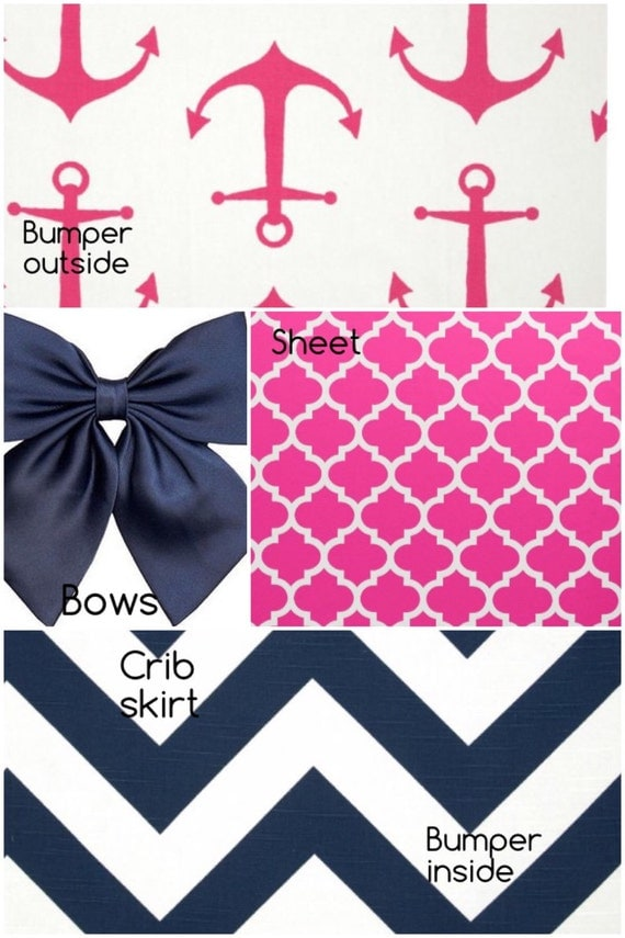 Nautical crib bedding set hot pink anchor navy amp white chevron