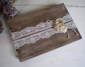 Wooden guestbook or photo album - Rustic Wedding guest book - Wood and lace  - Best bridal shower gift-shabby chic wedding