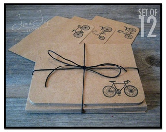 Bike Cards with Envelopes / Blank Note Card Set / Thank You Card / Fundraiser Thank You / Road Bike / Banana Seat Bike / Set of 12 / stamped