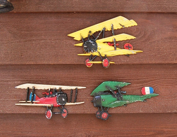 Set of cast airplane wall hanging vintage by