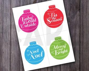 Printable Christmas gift tag, Christmas printable tags, christmas printable stickers, ornament swap gift tags, printable gift tags, DIY tags