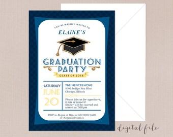 Graduation party invite, Printable Grad party invite, Class of 2017 invite, Graduation invites, Graduation party invitation, Grad cap invite
